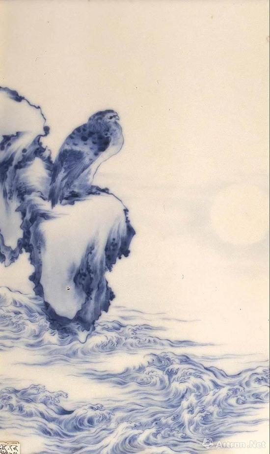 青花观海图瓷板