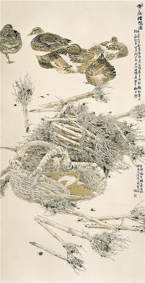《柴庭睡鸭图》134×67cm 2011年
