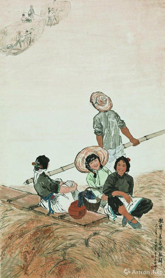 金志远徐孅1962年合作《歌声荡漾稻船归》,中国美术馆藏