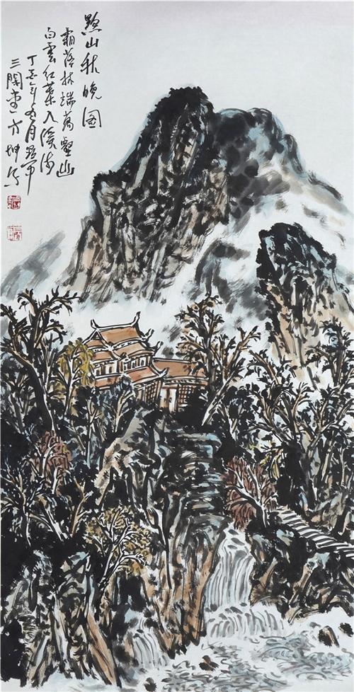 《黔山晚秋图》136×68cm