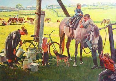 幸福牧场(油画)安德烈·根纳季涅维奇(俄罗斯)