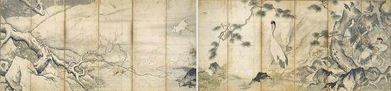重要文化遗产 雪舟等杨画四季花鸟图屏风 室町时代(15世纪)京都国立博物馆藏