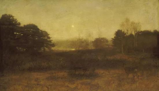 米莱斯爵士《月亮已升起,但此时还不是夜晚》布面油画 104.1×168.9cm 1890年