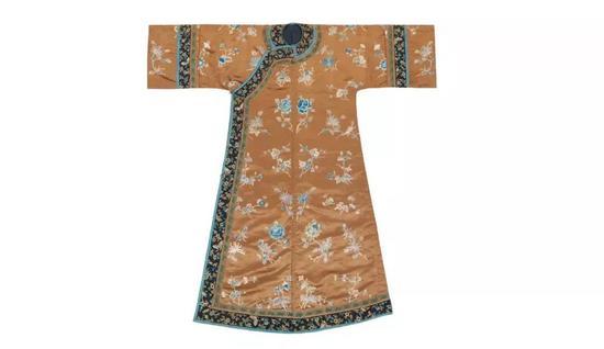 ▌清 19世纪 褐地绣花卉纹袍