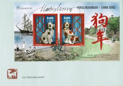 奥兰群岛的水手瓷器狗年邮票奥兰群岛邮票