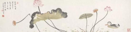 李孝萱 花鸟 34cm×137cm 纸本设色 2013年