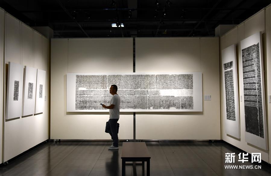 6月13日,在四川省眉山市美术馆,参观者在欣赏古代石刻拓片。新华社记者 陈健 摄