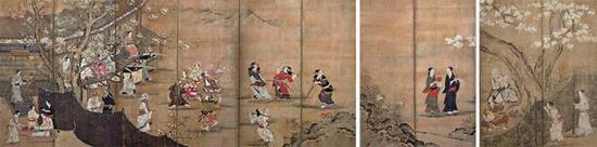 狩野长信《花下游乐图屏风》,江户时代·17世纪