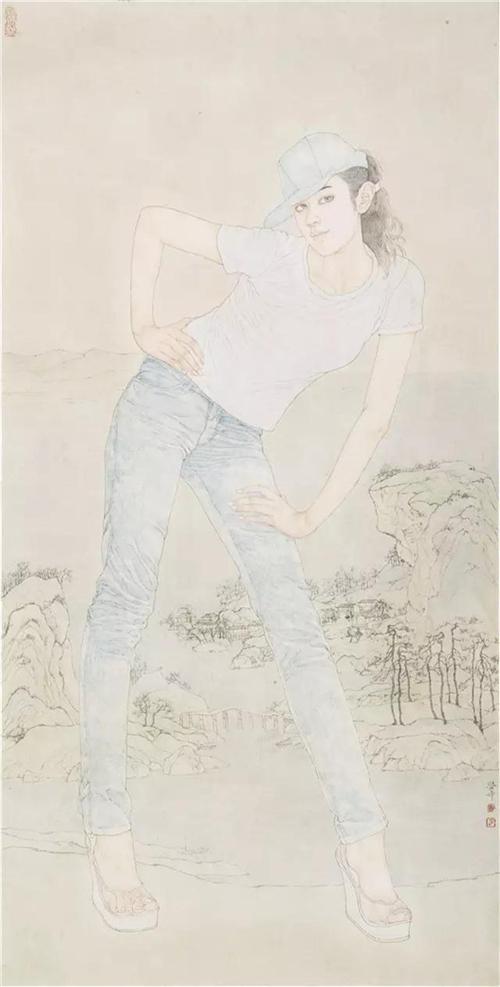 《千里江山图二》136×68cm 2009年