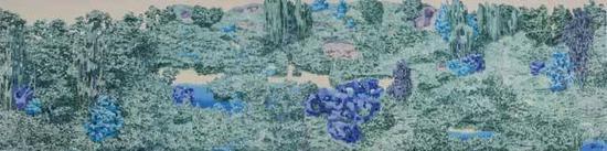 《中国花园》 布面油画 320cm x 90cm 2014年