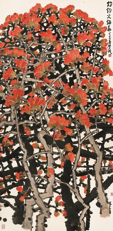 陈琪,《灼灼的火焰花》,中国画,248×123cm