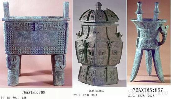 """▲""""司母辛""""鼎、""""妇好""""壶、""""妇好""""斝,妇好墓所出青铜器总重量达1.6吨"""