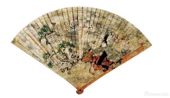 (日)彩绘柏扇 12世纪后期 严岛神社藏
