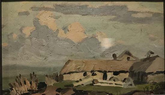 任丽君,《牛棚》,纸上油画,1970