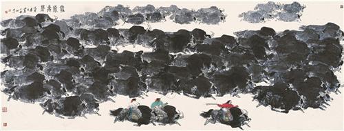 《雪原奔犁》100×360cm 1998年