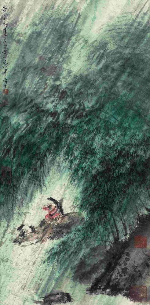 叶茂中 《风雨归牧》设色纸本 镜心 45×22cm 2020年