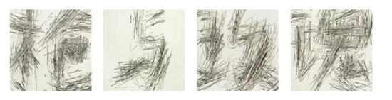 郝世明,文字系列-枪与玫瑰,78×78cm×4,绢本水墨,2016