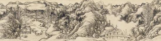 励宗万《仿吴镇夏木垂荫》卷(局部),纸本水墨,90.9厘米×15.1厘米