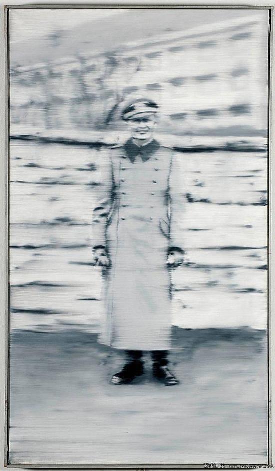 里希特《鲁迪舅舅》(Uncle Rudi)布面油画,87x 50cm,1965年
