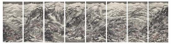 崔如琢,《葳蕤雪意江南》, 2013年 ,295×1152cm