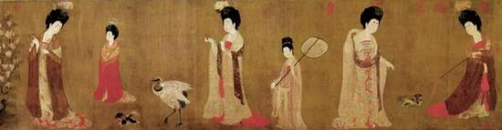 唐·周昉《簪花仕女图》,辽宁省博物馆藏