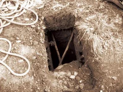 图为盗墓贼留下的盗洞