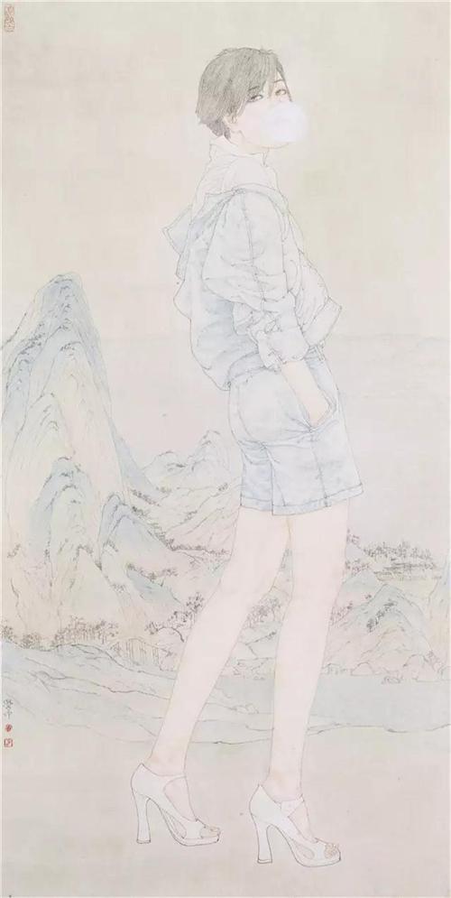 《千里江山图一》136×68cm 2009年