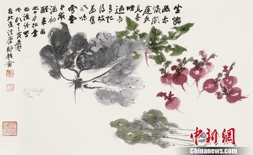 张大千《百财图》,丝网版画,42cm×69.5cm