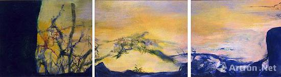 趙無極《向亨利·米修致敬(Homage to Henri Michaux)》 200 x 750 cm 2000年
