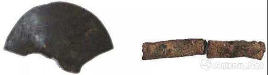▲ 姜寨遗址出土的黄铜片和黄铜管