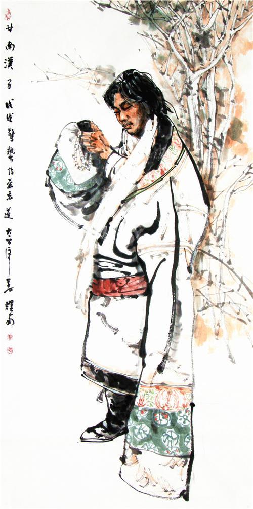 《甘南汉子》138×68cm 2018年