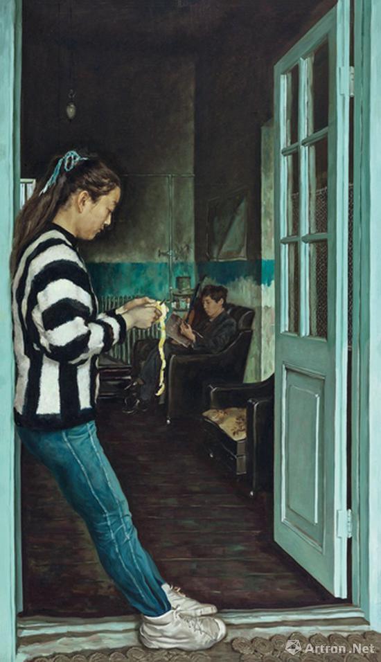 赵半狄《削苹果的女孩》布面油画 200×115cm 1989年 成交价:1104万元