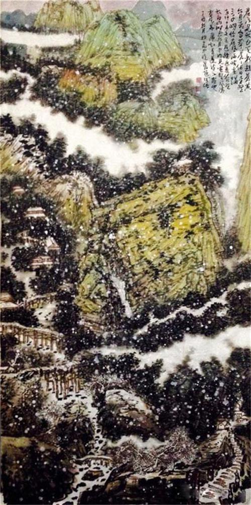 《太白飞雪图》244×120cm 2017年