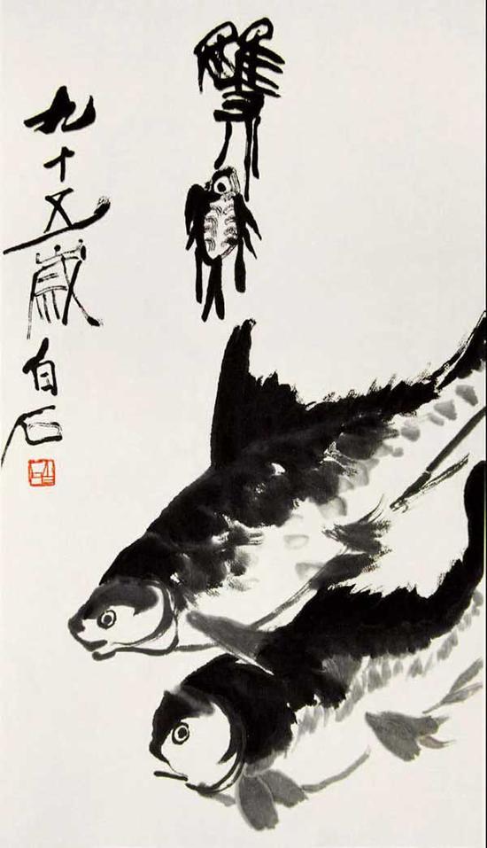 齐白石 双鱼图 78cm×44cm 1955年
