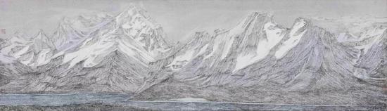 《雪山》140×40cm,绢本彩墨 2018