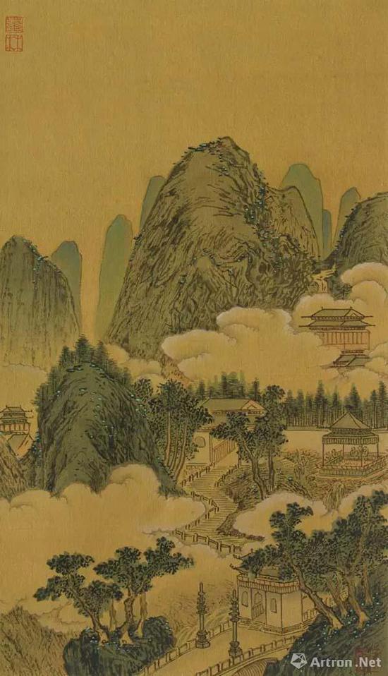 杭州下天竺寺图 两江名胜图册十开之二