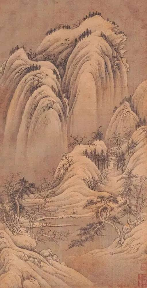 清 王�《小中现大册》,临五代巨然《雪景图》