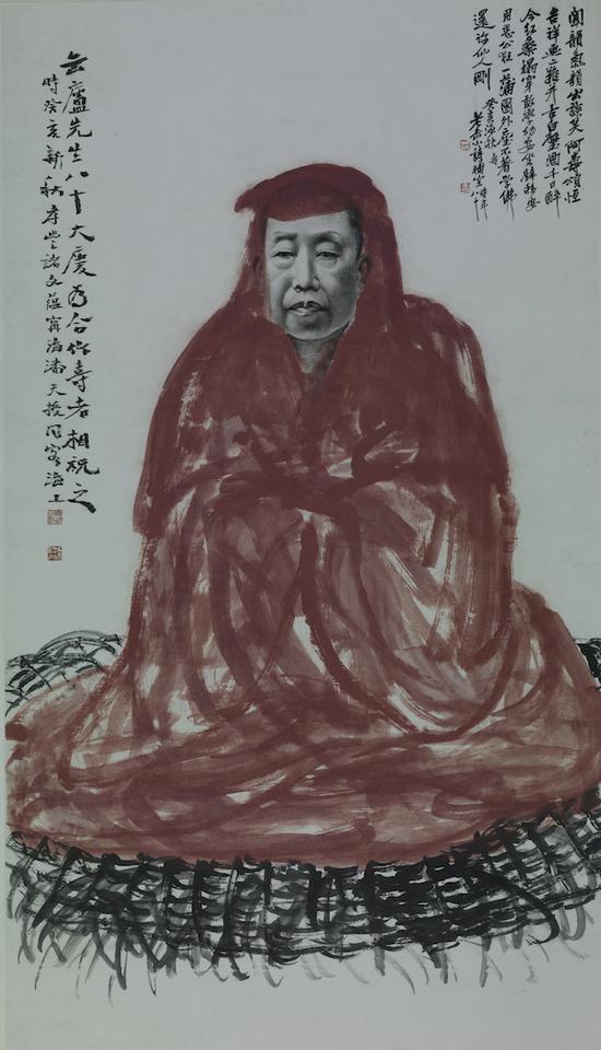 诸闻韵、潘天寿为吴昌硕作八十寿像轴1923年浙江省博物馆藏