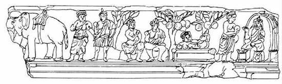 犍陀罗地区的一角仙人浮雕图(小谷仲南 线绘图)