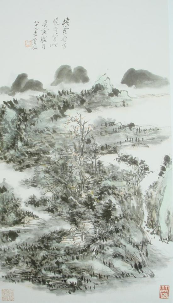 黄宾虹,《栖霞岭下晓望》,48.4x26.5cm,1950年,87岁画
