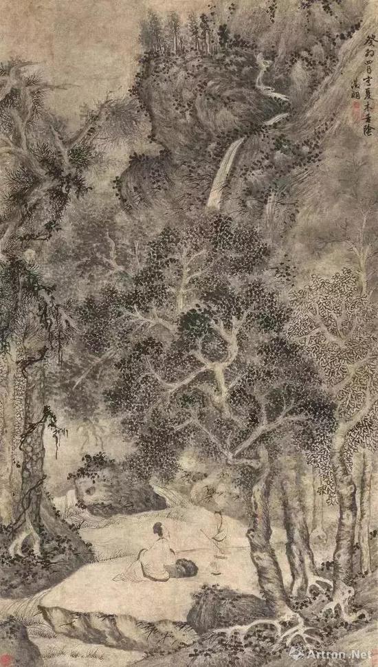 明 文徵明 夏木垂阴图 邓拓旧藏 现藏中国美术馆