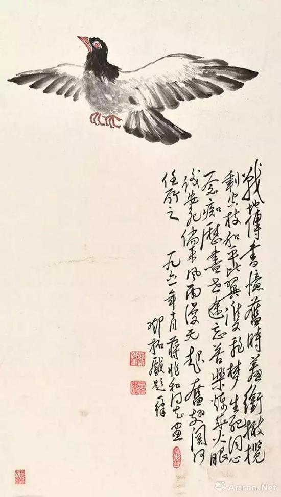和平鸽蒋兆和画、邓拓题字
