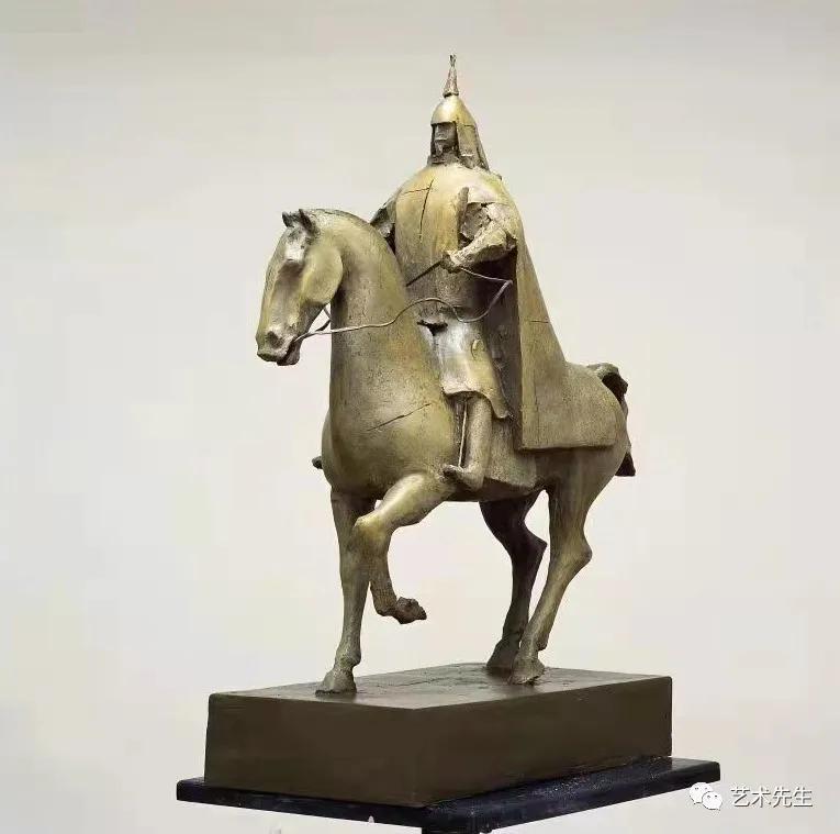 李象群 《 康熙大帝》铸铜60X30cmX105 2006
