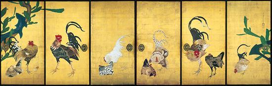 重要文化遗产 伊藤若冲画仙人掌群鸡图隔扇 江户时代(18世纪)大阪西福寺藏
