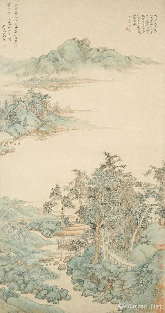 清 吴历 《寿许青屿山水》(1672年作,41岁)上海博物馆藏.