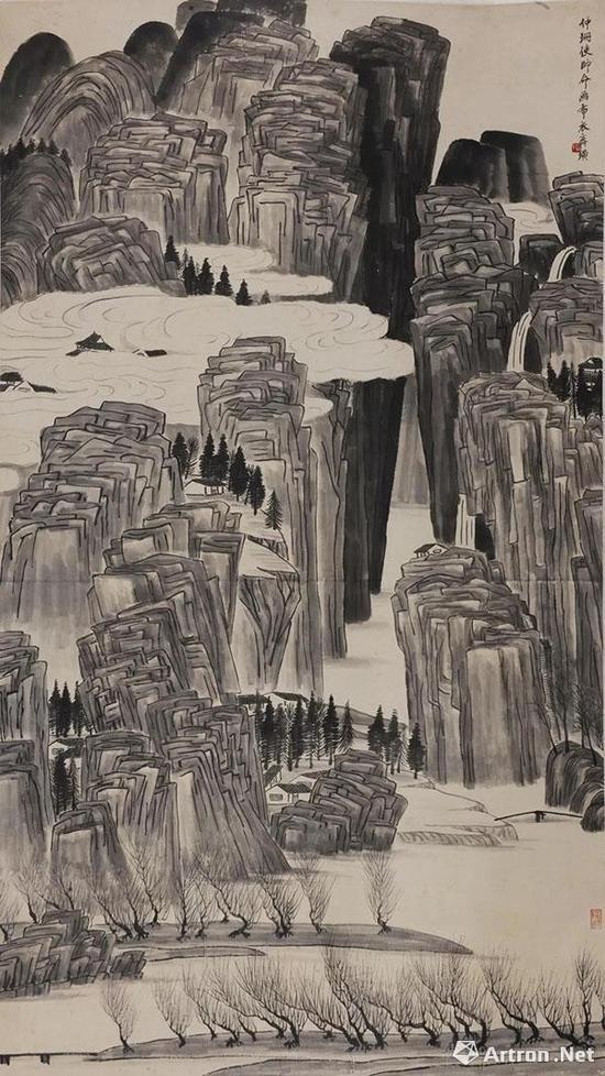 齐白石 《云山深涧》162×92cm