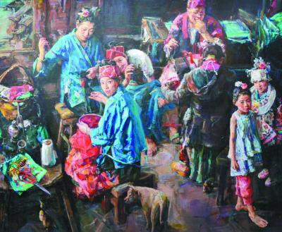 苗家绣女(油画)冯华(中国)