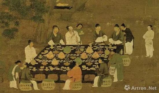 宋徽宗赵佶《文会图》,桌上有琳琅满目的美食