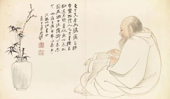 ▲张大千,《细书自画像》,1957年