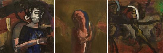 《伴侣/无题/无题》,布面丙烯,95 × 100 cm×3,1990